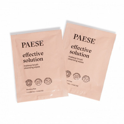 Набор салфеток для очищения кистей PAESE effective solution brush cleanser wipes 15шт: фото