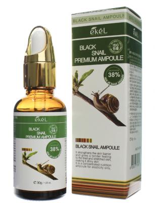Ампульная сыворотка для лица с муцином черной улитки EKEL Premium Ampoule Black Snail 30г: фото